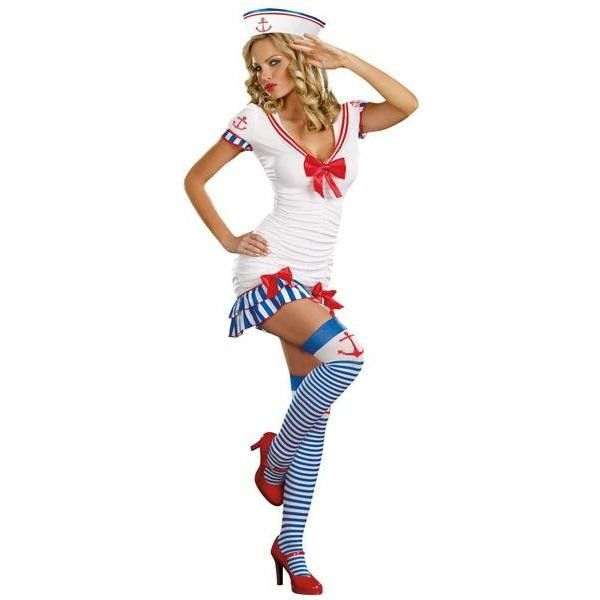 Womens BuySeasons Sailor Pin-Up Adult Costume ($48) ❤ liked on Polyvore featuring costumes, black, tops & tees, womens halloween costumes, adult women costumes, adult sailor costume, pinup costume and ladies costumes