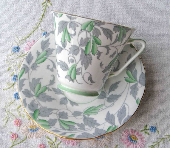 Art Deco Royal Grafton Bone China Tea Set In Hand Painted