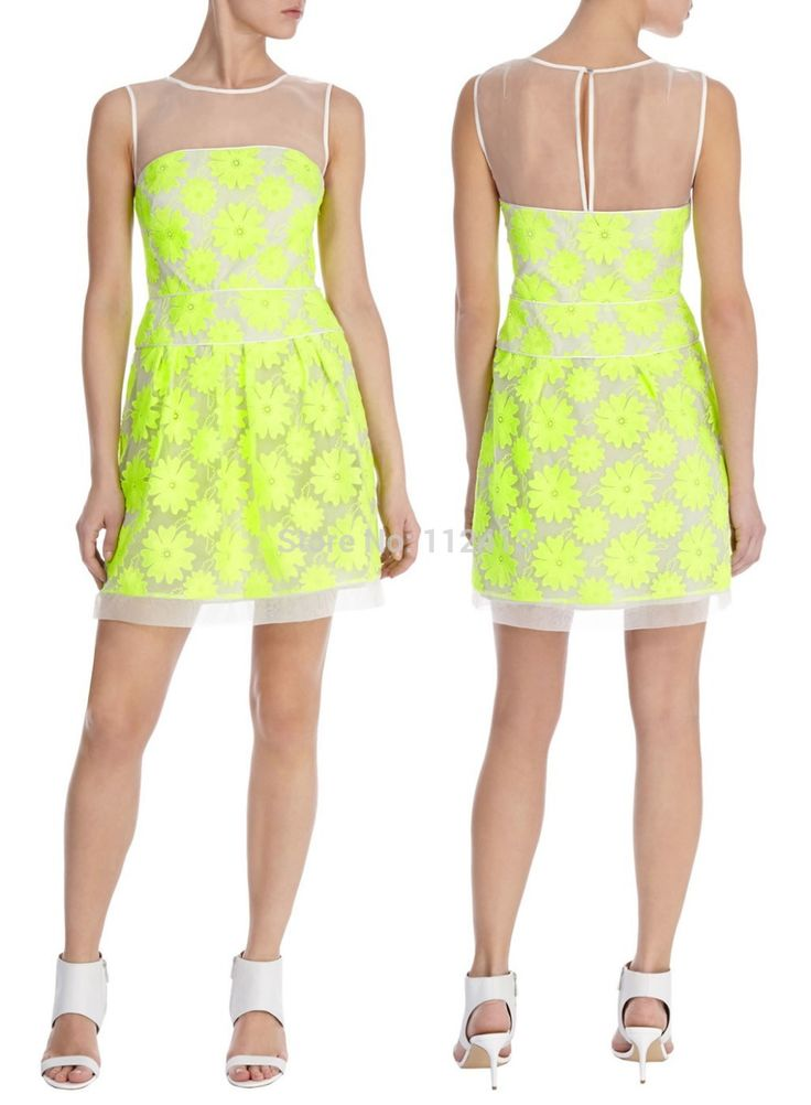 >> Click to Buy << Neon Floral Embroidery Women Dress Sexy Elegant Party Dresses 7229 #Affiliate