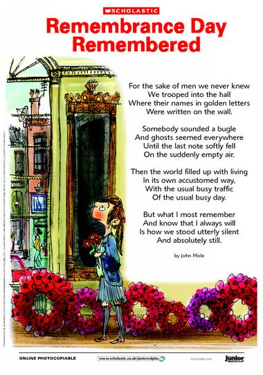 Introduce Remembrance Day with John Mole's poignant poem 'Remembrance Day Remembered'.