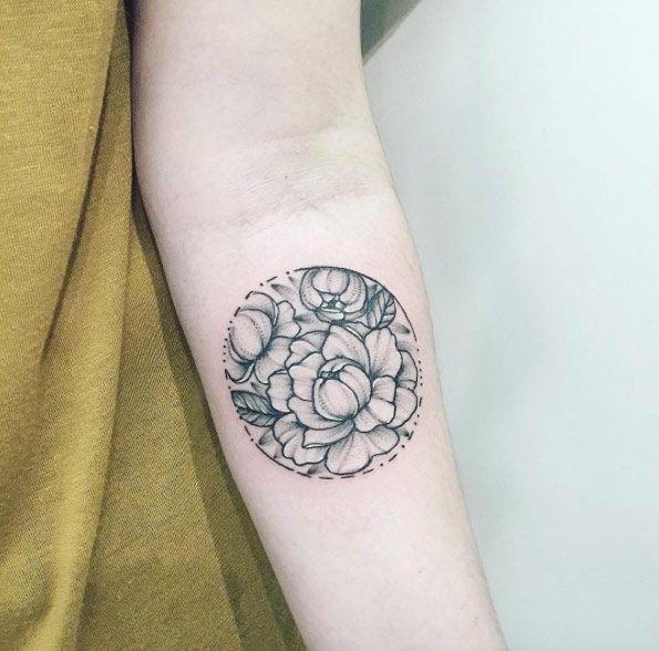 Circular peony tattoo design by Anna Bravo