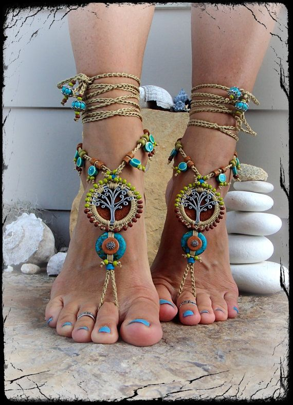 Beaded Yggdrasil TREE of life BAREFOOT SANDALS Turquoise Luxurious Leather foot jewelry crochet sandal Garden Wedding Tree Hugger GPyoga