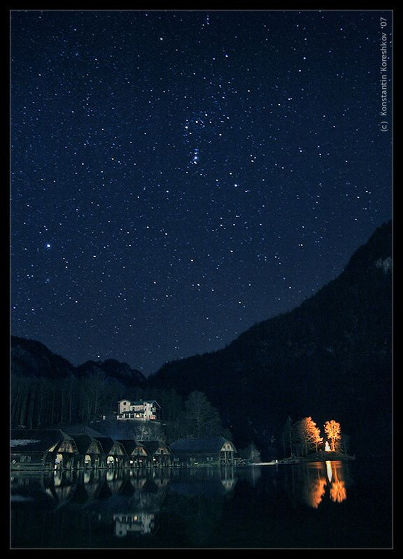 Bavaria night stars konigssee lake, Germany