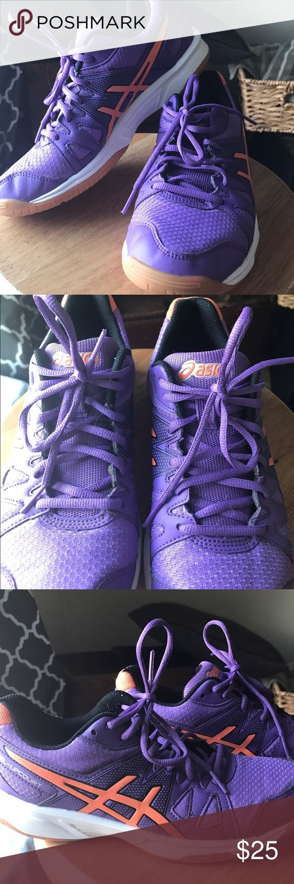 """Asics court shoes Almost new Asics """"GEL UP-COURT"""" shoes, basic gym shoes or court. Never worn outside, worn twice to work out in the living room, just don't fit me well. See last pic for slight orange color on the bottom from workout mat. Super cute bright purple! Asics Shoes Athletic Shoes"""