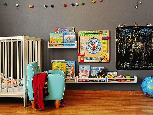 """bookshelves"" made from $2.49 ikea spice racks.: Books Shelves, Kids Books, Boys Rooms, Grey Wall, Spices Racks, Baby Rooms, Pom Pom, Books Storage, Kids Rooms"