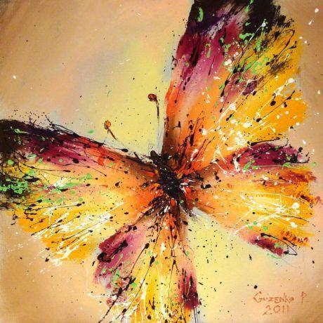 Butterfly - Oil painting on canvas of the popular Ukrainian artist - Pavel Guzenko Petrovich.