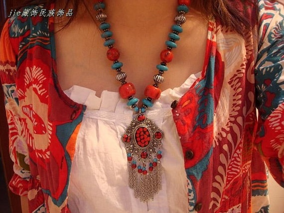 Handmade Nepalese Tibetan coral beads pendant by nepalesejewelry, $15.99