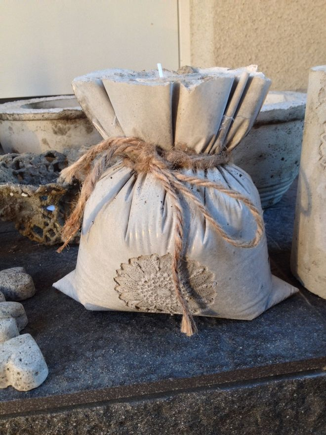 concrete pouch with sisal ribbon