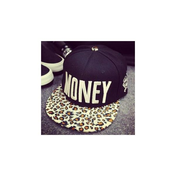 """""""MONEY"""" Leopard Print Baseball Cap ($12) ❤ liked on Polyvore featuring accessories, hats, women, black baseball cap, black baseball hat, leopard hat, cotton hat and cotton baseball hats"""