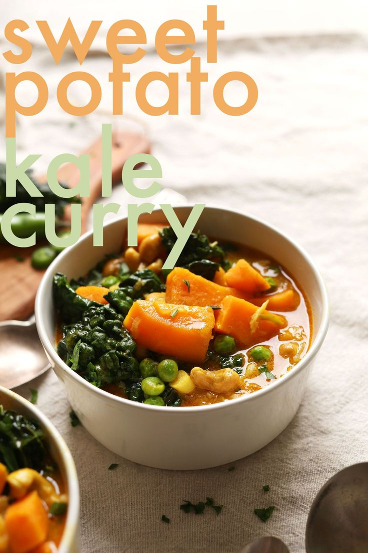 PERFECT Sweet Potato Kale Curry! 1 pot, so easy, protein-rich! #vegan #glutenfree #easy #dinner #curry #autumn