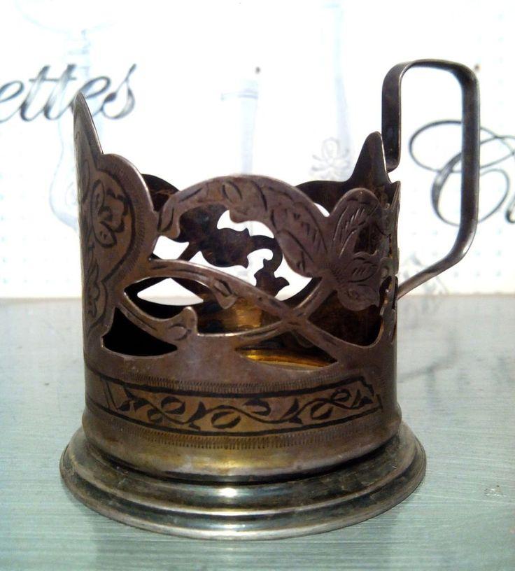 TEA HOLDER. SILVER 875. Vintage, Russian, Soviet. Post-1940. 102 gramm.