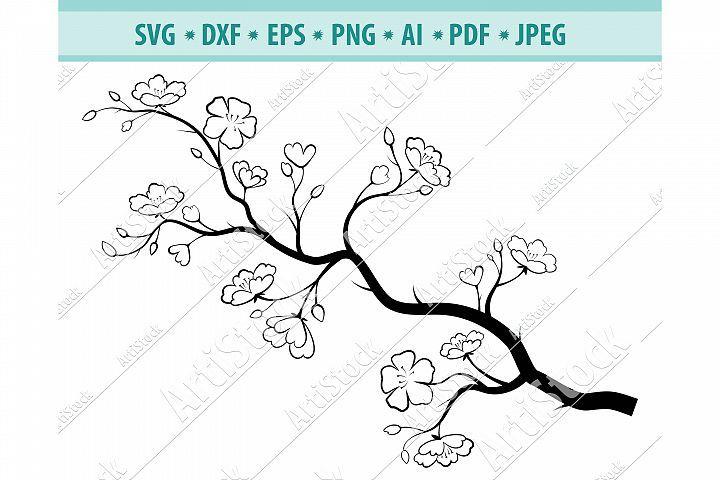 Cherry Blossom Svg Sakura Svg Tree Branch Dxf Png Eps 443122 Svgs Design Bundles In 2021 Vinyl Decal Paper Tree Branches Mug Art