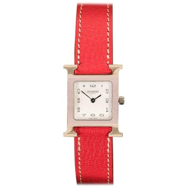Preowned Pristine Hermes Lady's 'heure H' Double Strap Palladium... (153.865 RUB) ❤ liked on Polyvore featuring jewelry, watches, red, wrist watches, pre owned watches, square watches, preowned watches, red jewelry and pre owned jewelry