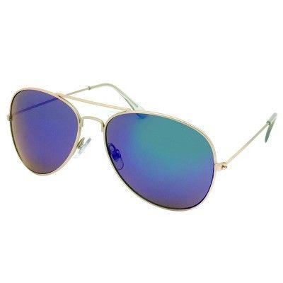 1a0ff36de6 Women s Aviator Sunglasses w  Blue Lenses - Gold   Target