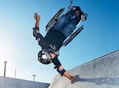 "Aaron Fotheringham is an Extreme wheelchair athlete who performs tricks adapted from skateboarding and BMX.  He calls it ""hardcore sitting.""  That's awesome"
