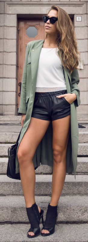 Kenza Zouiten + switching it up + funky and alternative teal green trench + cute leather mini shorts + pair of classic sunnies + new and authentic    Trench Coat: Ivy Revel, Shoes/Top/Shorts: Zara, Bag: Celine.