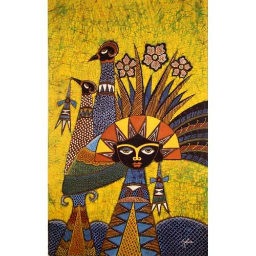 Batik Fabric Panel by Jaka, Woman with Crown on Gold