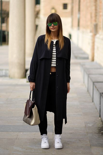 Cropped top, blue trench coat, mirror sunglasses, nike air force 1 #fashionzen