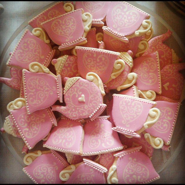 Beauty and the Beast themed party! Tea party bridal shower shortbread custom cookies by Cookievonster, via Flickr
