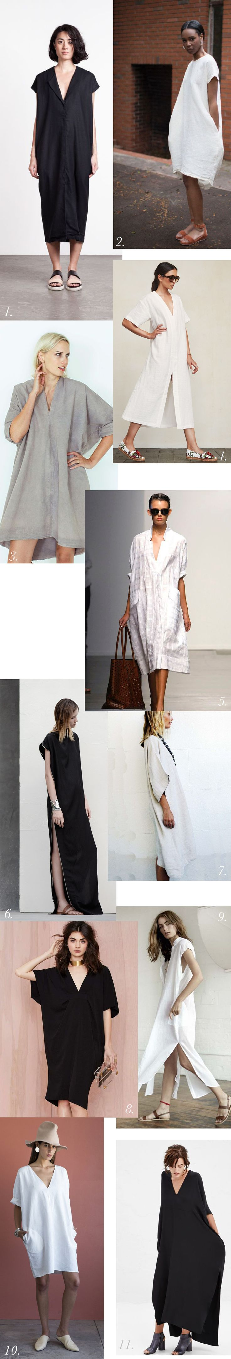 Minimalist caftans in linen, silk and cotton https://closetcasepatterns.com/the-charlie-caftan-pattern-inspiration-styling/