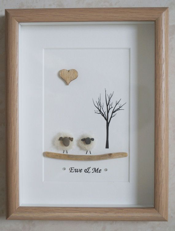 Pebble Art framed Picture Sheep Ewe & Me by Jewlls4u on Etsy