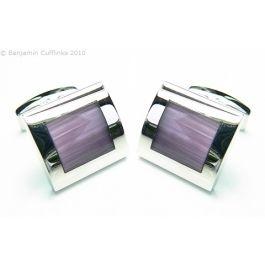 Purple Square Stainless Steel Cufflinks - Purple Grade A Cats Eyes set in a Stainless Steel cufflink.