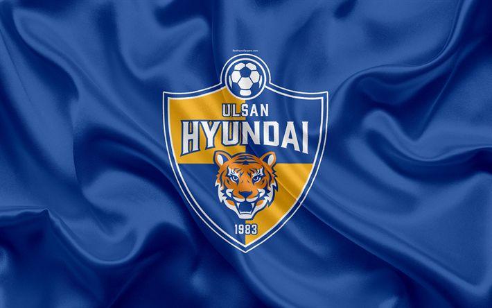 Download wallpapers Ulsan Hyundai FC, silk flag, 4k, logo, emblem, blue silk texture, South Korean football club, K League 1, football, Ulsan, South Korea