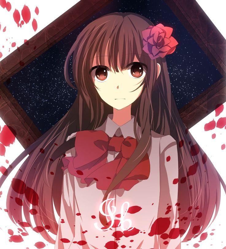 anime girl with flower in hair