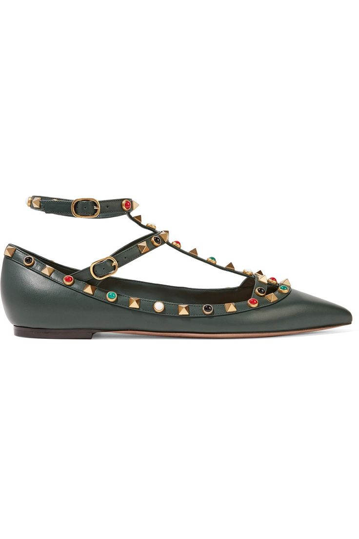 Shop on-sale Valentino Rockstud embellished leather point-toe flats. Browse other discount designer Flat Shoes & more on The Most Fashionable Fashion Outlet, THE OUTNET.COM