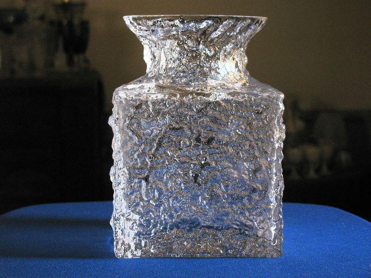 "IITTALA VASE CRUCUS (Crucas) Timo Sarpaneva ICE Glass SQUARE BASE signed 6"" Rare #IittalaCrystalScandinavianFinnishGlass"