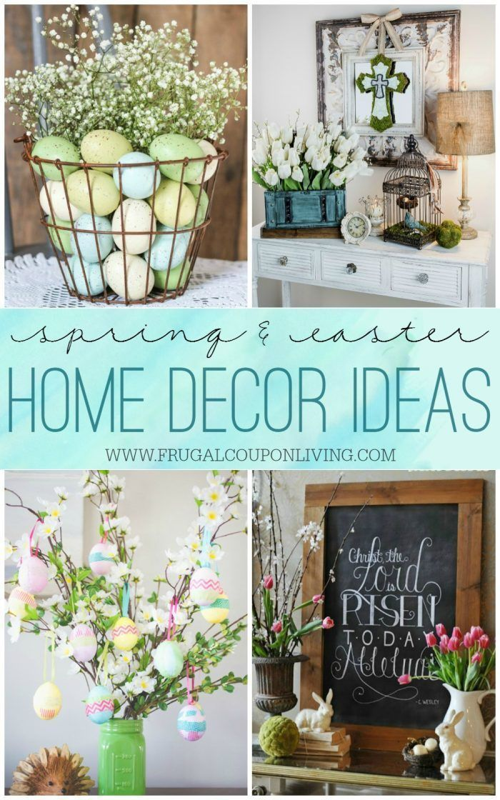 Looking for spring home ideas this season? These Spring and Easter Home Decor Ideas incorporate bunnies, eggs, flowers and even grass. Details on Frugal Coupon Living.