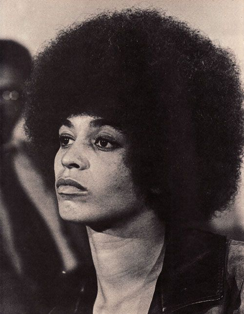 American political activist, scholar, professor, author and nationally prominent radical of the 1960s, Angela Davis. Of well educated southern parents, she studied in the US, France and Germany, and became a leader of the Communist Party USA, and closely involved with the Black Panther Party through the Civil Rights Movement. She popularised the 'afro' hairstyle and generated pride in many African Americans, and respect for her uncompromising stance, amongst students around the world