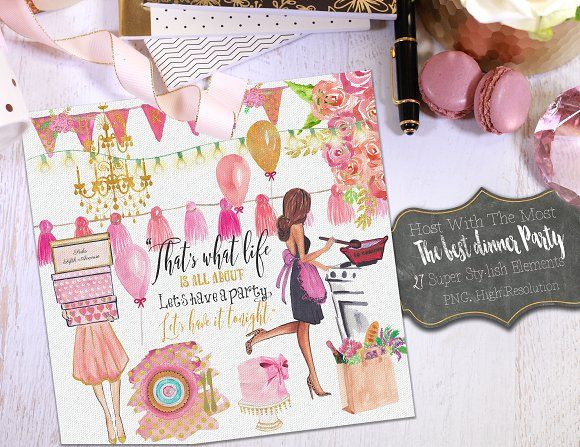 Dinner Party Watercolor Clipart. by My Creative Atelier on @creativemarket
