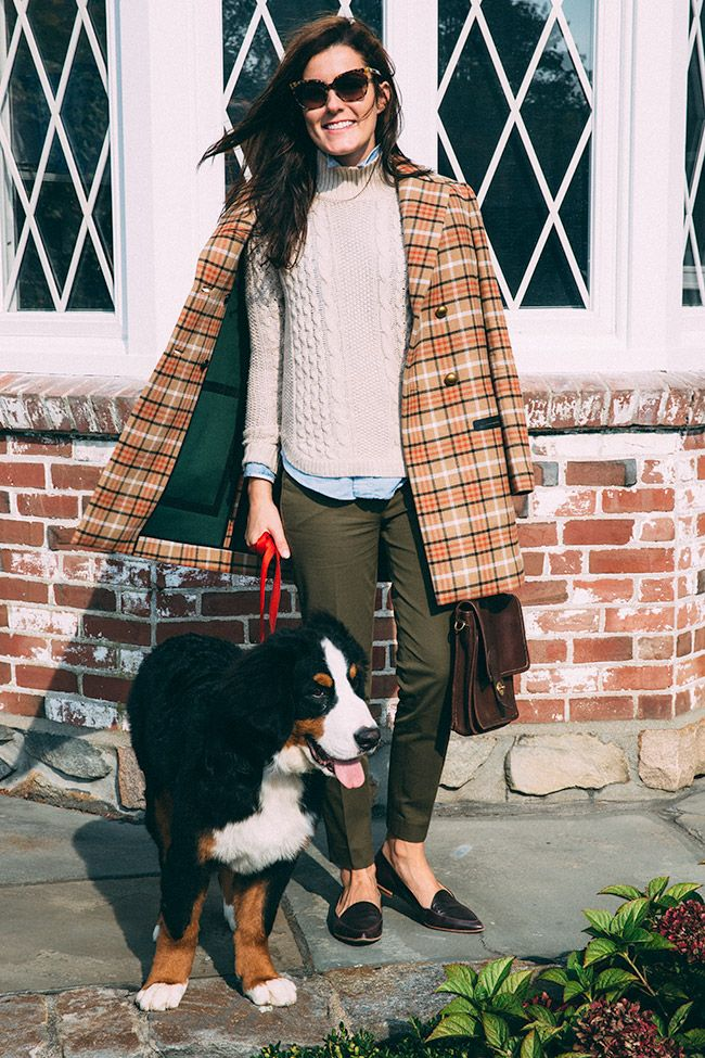 Never Ever Out of Style- The Preppy Look For Fall, vintage plaid coat, chunky white sweater