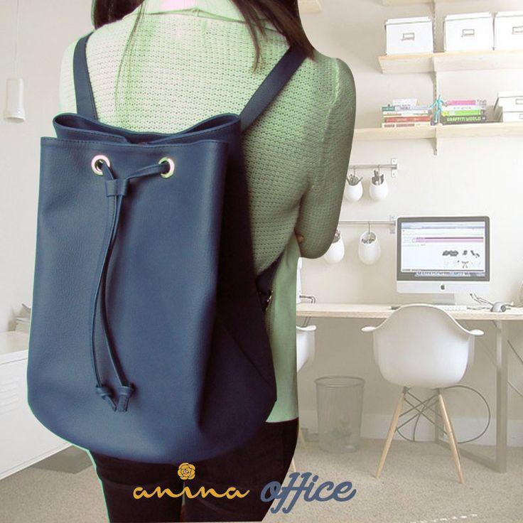 Estarás lista para tu trabajo con este backpack office, compralo al inbox o al whatsapp: 3215012513 #ecocuero #anina #blue #azul  Disponible en azul, rojo, negro y miel