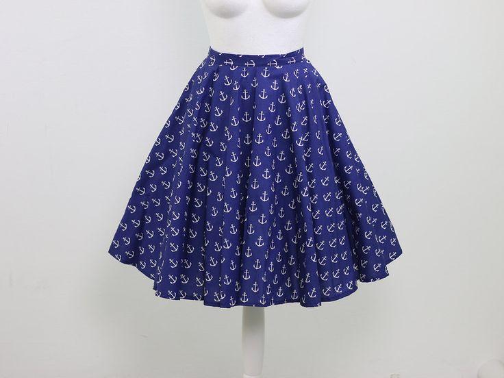 Spódnica z koła / kotwice M - KalosKagathos - Spódnice midi
