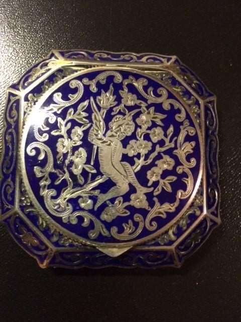 Antique Enamel & Silver Vinegarette Compact in | eBay
