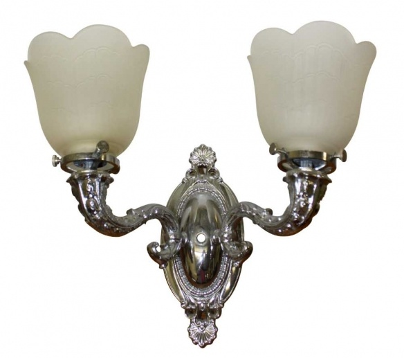 Nickel over brass sconces from the Plaza Hotel