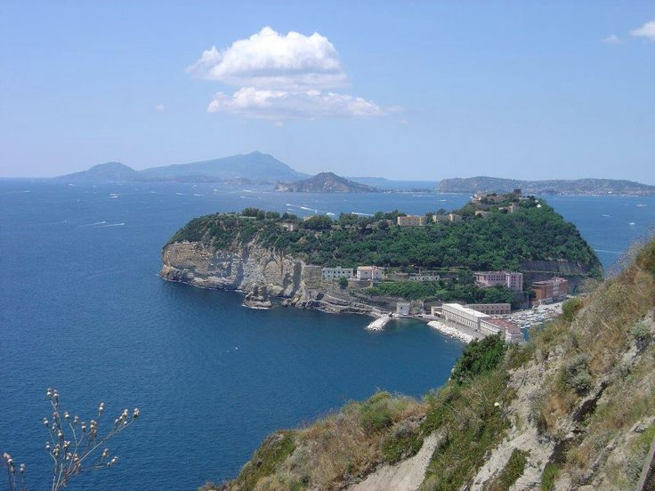 View from Parco Virgiliano: Nisida, Capo Miseno, and  Ischia isle in the far distance