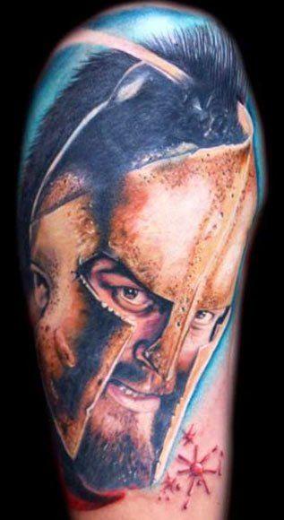 Leonidas was the original badass. Tattoo by Mario Hartmann #InkedMagazine #tattoo #tattoos #Inked #Ink #art #portrait