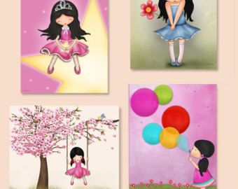 Kids Playroom Wall Art Prints Illustrations Set of 4 by jolinne