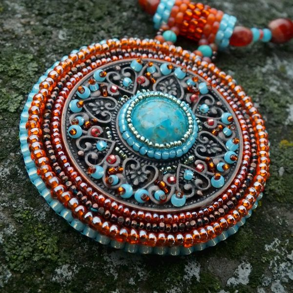 """""""Shadows Of Alhambra"""" necklace - Czech and Japanese seed beads, vintage glass cabochon, copper filigree, agate and imitation turquoise."""
