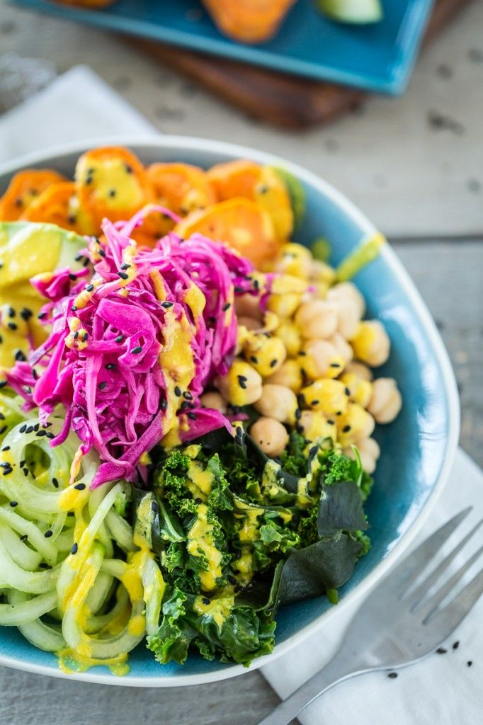 The Macro Bowl with Turmeric Tahini Dressing recipe.  Protein: chickpeas
