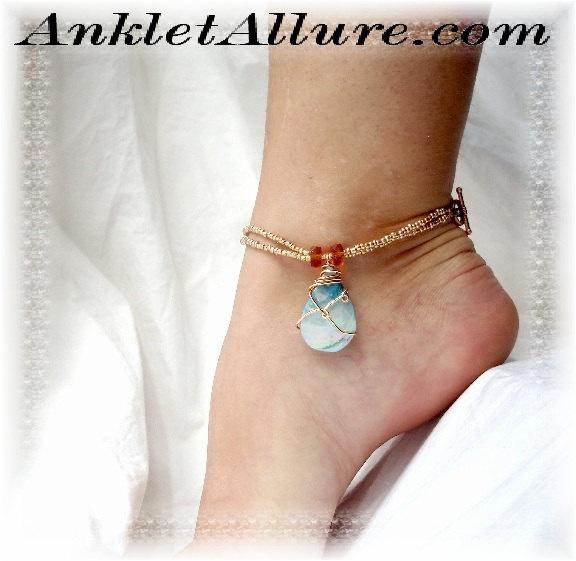 Ocean Teardrop Blue Wire Wrapped Shell Anklet Copper Ankle Bracelet