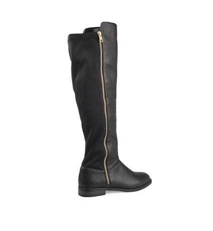 The low heel, soft inner support and convenient side zip make these leather-look rider boots perfect for everyday wear.