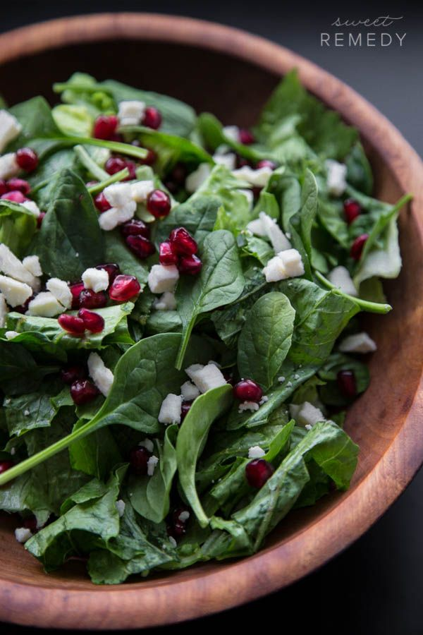 Spinach Pomegranate and Feta Salad with Pomegranate Balsamic Dressing ...