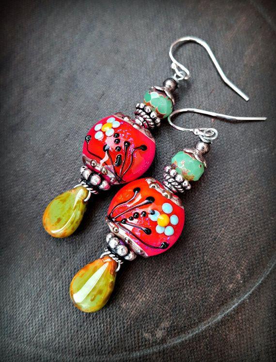 Lampwork Glass, Czech Glass, Lentil Glass Beads, Flowers, Leaves, Earthy, Organic, Rustic, Beaded Earring
