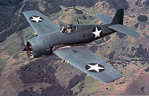 "The Grumman F6F Hellcat was a carrier-based fighter aircraft developed to replace the earlier F4F Wildcat in United States Navy (USN) service. Although the F6F resembled the Wildcat, it was a completely new design powered by a 2,000 hp Pratt & Whitney R-2800. Some tagged it as the ""Wildcat's big brother"".[3] The Hellcat and the Vought F4U Corsair were the primary USN fighters during the second half of World War II.  1942   wem"
