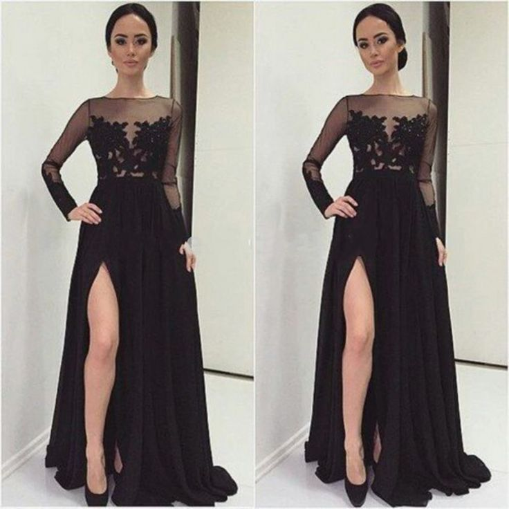 Find More Prom Dresses Information about Sexy A Line Sheer Long Sleeves Evening Dresses 2016 Black Appliqueds Bodice Chiffon Long Girl Prom Gowns ,High Quality dress pearl,China dress parts Suppliers, Cheap gown manufacturers from Kingshow Bridal on Aliexpress.com