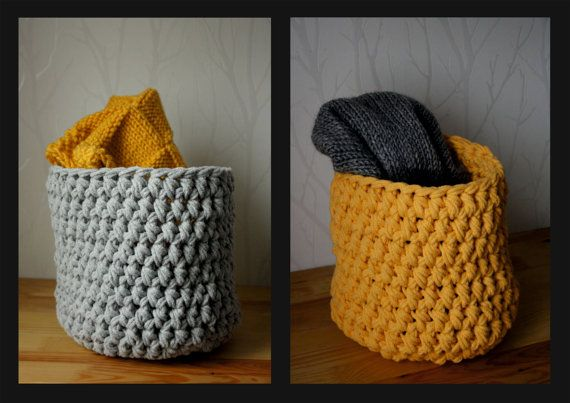 Large cotton basket by CreamKnit on Etsy